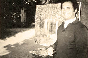 Pierre painting at Crossy Sur Seine in 1980